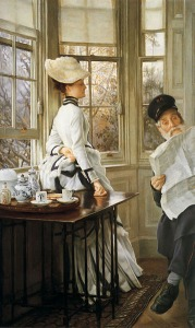 Reading the News by James Tissot, circa 1874 Image:Wikipedida