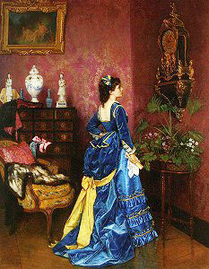 La Robe bleue. by Auguste Toulmouche(1829-1890,France)