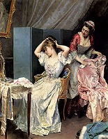 A Lady's maid by Raimundo de Madrazo y Garreta (1841-1920, Spanish)