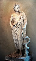 Asclepius with his serpent-entwined staff