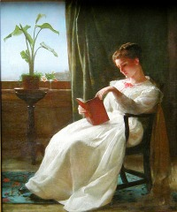 Girl Reading. by George Cochran Lambdin (1830-1896, American)