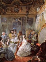 Marie Antoinette dans son salon by Jean-Baptiste-Andre Gautier-Dagoty(1740-1786, Paris)