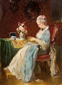 Elegante Dame im Lehnstuhl by Attributed to Johann Hamza (German, 1850-1927)