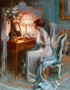 jeune femme une sa coiffeuse by Delphin Enjolras(1865-1945, French)