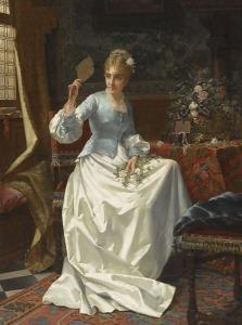 A Beauty In An Interior by Jan Frederik Pieter Portielje(1829-1908), PD