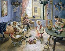 Kinderstube by Fritz von Uhde(1848-1911, German)