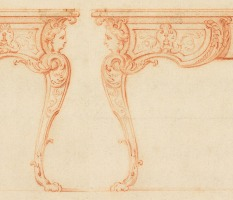 Design for a writing desk by Gilles-Marie Oppenordt(1675-1700,French)