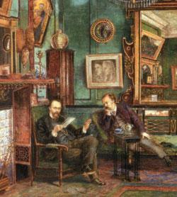 Dante Gabriel Rossetti's drawing room at No. 16 Cheyne Walk, 1882, by Henry Treffry Dunn.(部分)