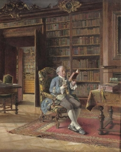 In the Library by Johann Hamza (German, 1850-1927)