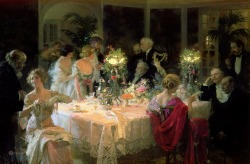 The end of dinner by Jules-Alexandre Grun (1868-1934 French)