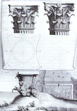 The origin of the Corinthian order, illustrated in Claude Perrault's translation of the ten books of Vitruvius, 1684