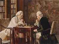 Die Schachpartie by Alois Heinrich Priechenfried (Austrian,1867-1953)