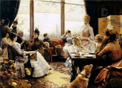 Five o ' clock tea by Julius Leblanc Stewart (1855 - 1919)
