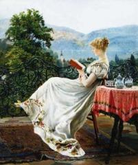 Reading on the Terrace by Johann Hamza(1850-1927,German)