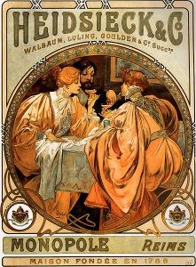 Heidsieck & Co. by Alphonse Mucha(1860-1939, Czech)