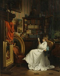 In the library by Benjamin Eugene Fichel (francais, 1826-1895)