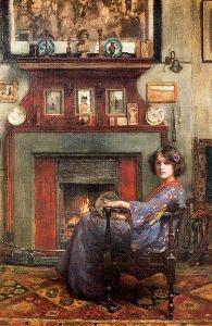 By the Fireplace by Casimiro Sainz y Saiz(1853-1898)
