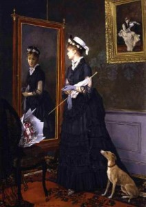 Elegant Woman at a Mirror (1874) by Camille Léopold Cabaillot Lassale. Image : Web Gallery of Art