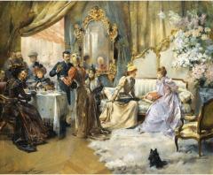 Le Gouter Au Salon Du Peintre by Madeleine Lemaire. Image:Wikipedia