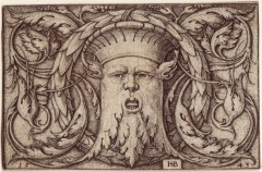 Engraving of foliate head, Hans Sebald Beham, 1543