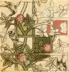 Design for Trellis wallpaper, 1862 by William Morris. Images : Public Domein