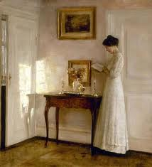 Woman Reading by a Table by Carl Vilhelm Holsoe(1863-1935)