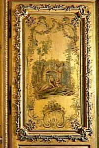 Vernis Martin boiserie, in the boudoir of the Dauphine, Versailles