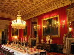 Dining room, Chatsworth House in Derbyshire, England