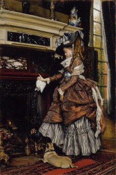 The Fireplace by James Tissot(1836-1902)