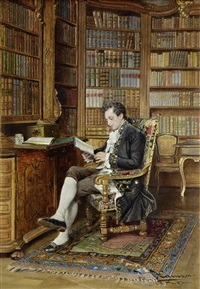 In the library by Johann Hamza (1850-1927)