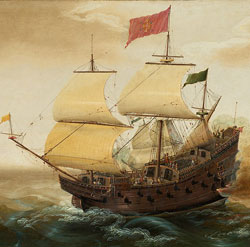 A Spanish galleon (left) firing its cannons at a Dutch warship (right). (部分)/Cornelis Verbeeck, c. 1618/1620 Public Domain