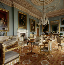 Pale blue painted Drawing Room with Adam style ceiling at Attingham