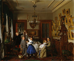 The Contest for the Bouquet: The Family of Robert Gordon in Their New York Dining-Room by Seymour Joseph Guy 1866 (1824-1910)