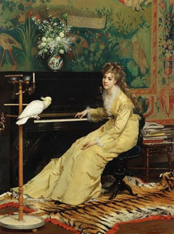 Woman at the Piano with Cockatoo by Gustave Leonard de Jonghe c.1870