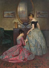 Preparing for the ball by Viktor Schramm (osterreichisch, 1865-1929)