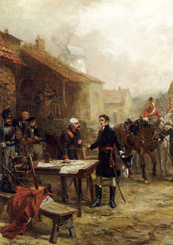 Wellington And Blucher Meeting Before The Battle Of Waterloo by Robert Alexander Hillingford(1825-1904)