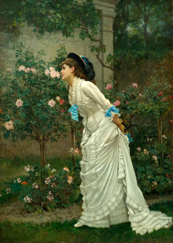 A Girl and Roses by Auguste Toulmouche  1829-1890