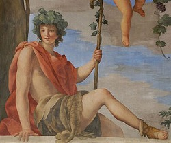 Dionysos, detail of an allegory of Autumn by Giovanni Francesco Romanelli (1610 1662, Italian) at Louvre Museum