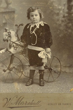 Little Boy & Horse Tricycle Victorian Cabinet Card Antique Photo 1880s