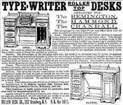 Typewriter rolltop desks advertisement 1888