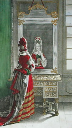 Lady looking in the mirror by Jean Dieu de Saint-Jean c.1688-90