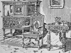 "17th century furniture drawing from ""Style In Furniture"", by R. Davis Benn."
