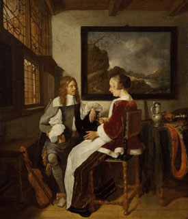Sentimental Conversation by Quirijn van Brekelenkam Dutch 1660s