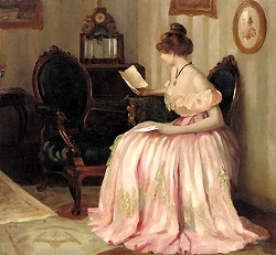 Reading a letter by Emil Pap (1884-1945,Hungarian)
