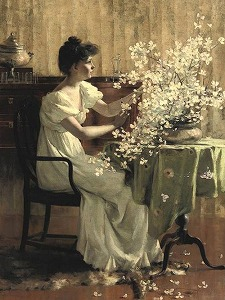 Woman Arranging Flowers by Francis Coates Jones (1857-1932)