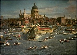 London, the Thames with View of the City and St. Paul's Cath by Canaletto(1697-1768)