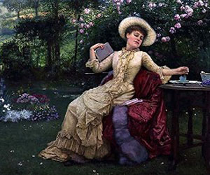 Drinking Coffee and Reading in the Garden by Edward Killingworth Johnson (1825-1896)
