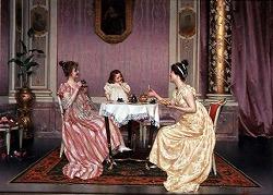 """The Tea Party"" by Vittorio Reggianini (Italian, 1858-1938)"