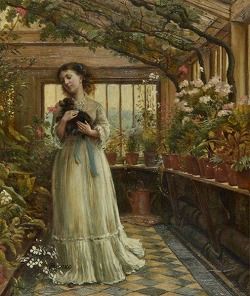 Dora laughing held the dog up childishly to smell the flowers by George Goodwin Kilburne(1839-1924 London)