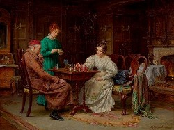 The Chess Game by Margaret Dovaston (British 1884- 1955)